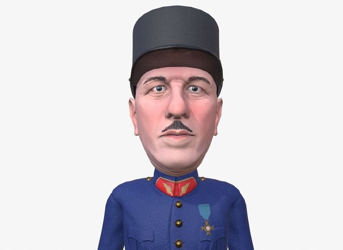 de gaulle caricature 3d model low-poly rigged animated obj mtl fbx ma mb unitypackage prefab mat 1