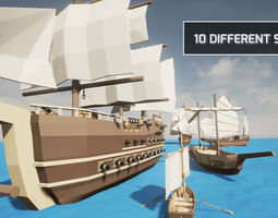 3D model LowPoly Ships Pack