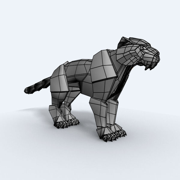 Origami Tiger 3d Model Low Poly Rigged Max 3