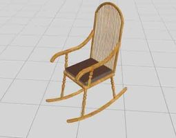 3D Wooden Chair bedroom chair gallery chair