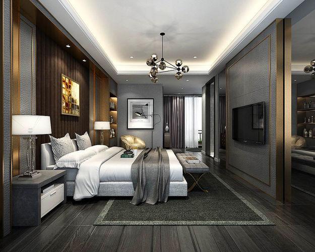 stylish master bedroom design  35 3d model max 1