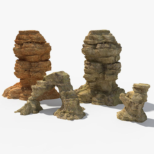 desert rock 3d model max obj fbx 1