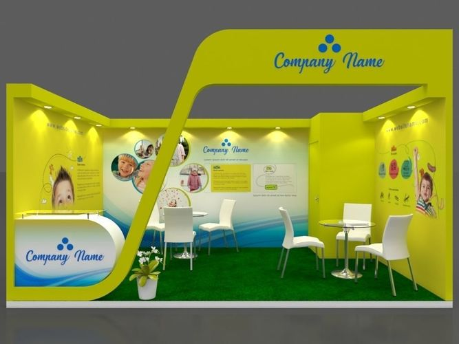 exhibition stall 3d model 5x3 mtr 1 side open booth 3d model max 1