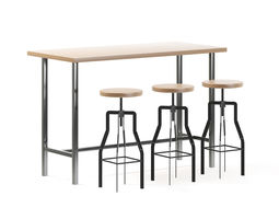 animated bar table with stools 3d model