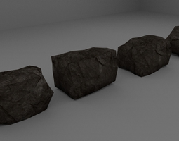 4 x Low Poly Rocks 3D Model