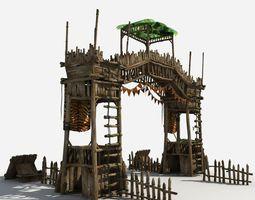 gate guard tower 3d