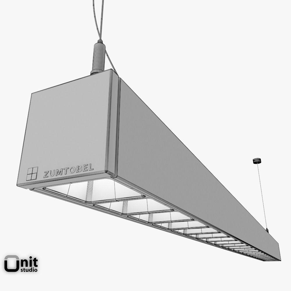 Zumtobel Lincor Pendant LED Luminaire 3D Model MAX OBJ 3DS