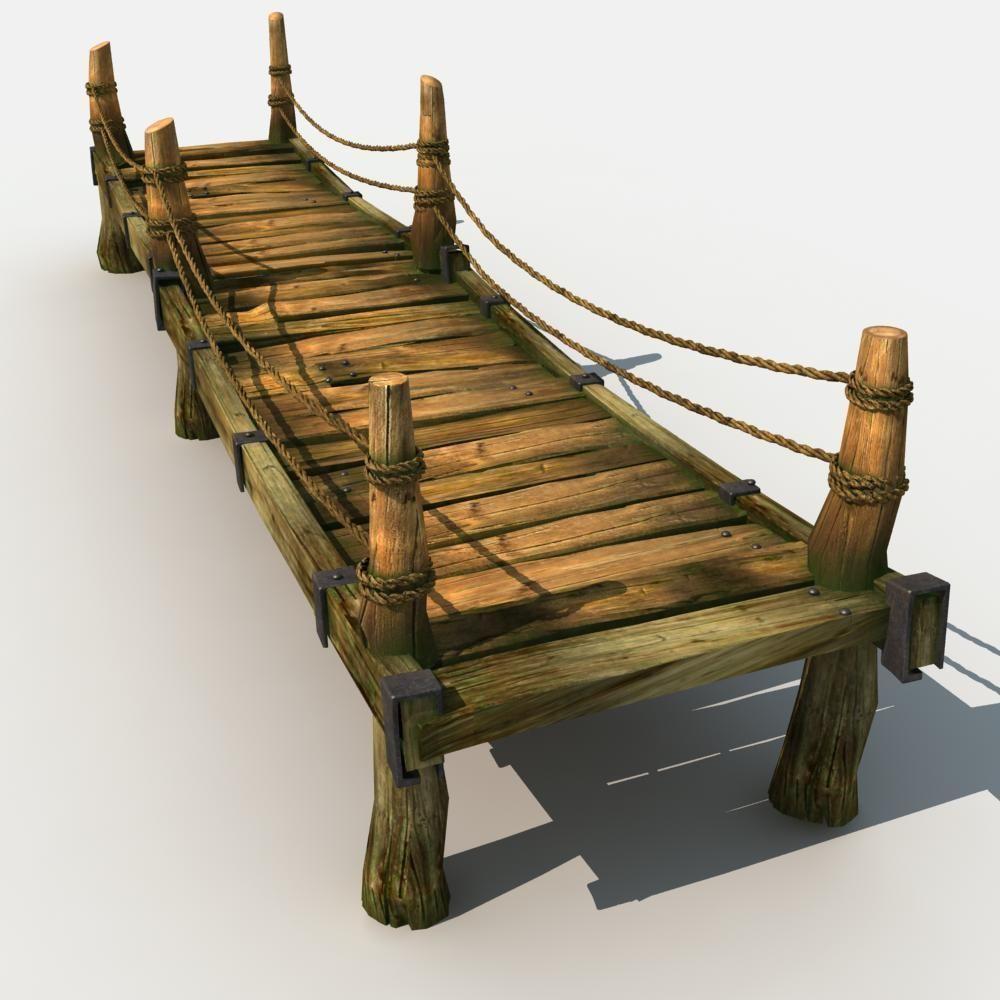 Old Wooden Bridge 04 3d Model Max Obj Fbx Cgtrader Com