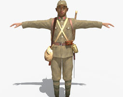 WWII Japanese Soldier 01 3D Model