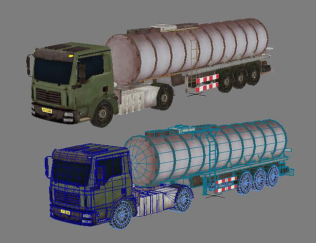 oil tank lorry 3d model low-poly max obj mtl fbx tga 1