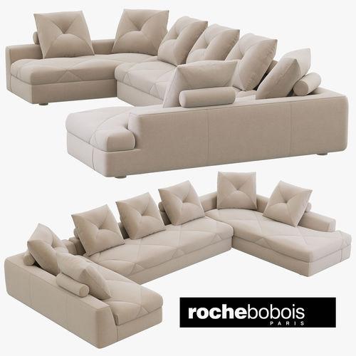 roche bobois preface modular sofa 3d model max obj 3ds fbx mtl 1