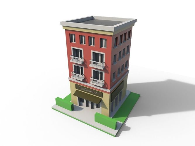 Building A New House Cartoon : D asset low poly cartoon building cgtrader