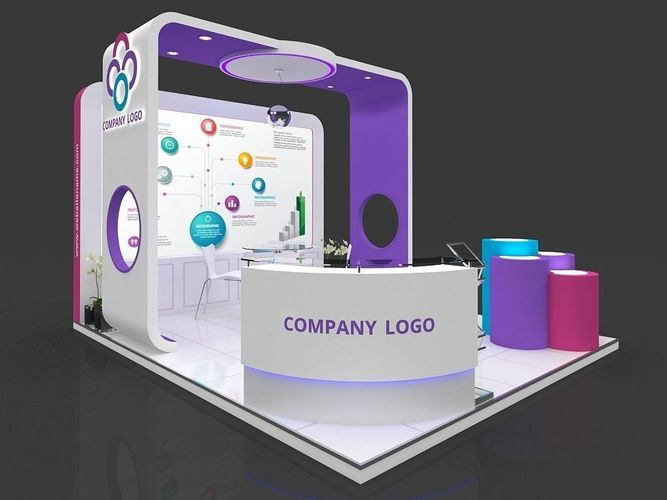 exhibition stall 3d model 5x4 mtr 3 sides open stand 3d model max 1