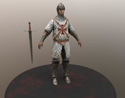 low-poly crusader warrior animated 3d asset