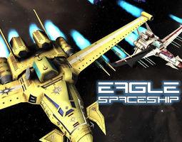 realtime 3d asset eagle spaceship