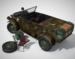 low-poly historical military vehicle 3d asset