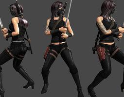 animated VR / AR ready 3d asset ninja assassin
