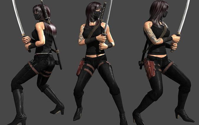 ninja assassin 3d model low-poly rigged max obj mtl fbx lwo lw lws dae X 1