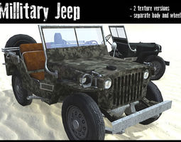 3d asset game-ready military jeep