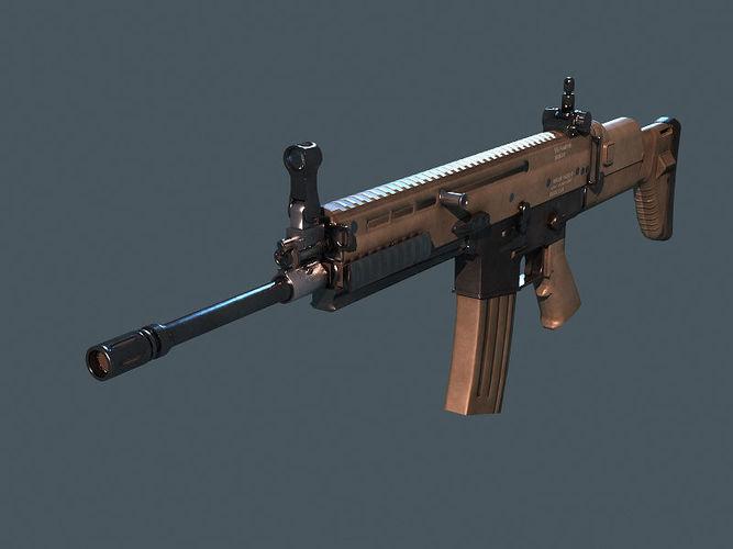 rifle scar m16 3d model low-poly obj mtl fbx X lxo lxl tga 1