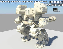3d asset robot warrior 2 animated