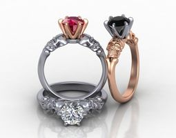 Skull Engagement ring Tiffany style 3d model