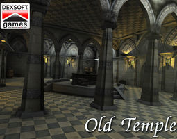 3D asset low-poly Old Temple