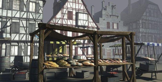 medieval market place 3d model low-poly obj mtl fbx lwo lw lws dae X unitypackage prefab 1