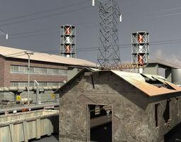 low-poly 3d model industrial buildings