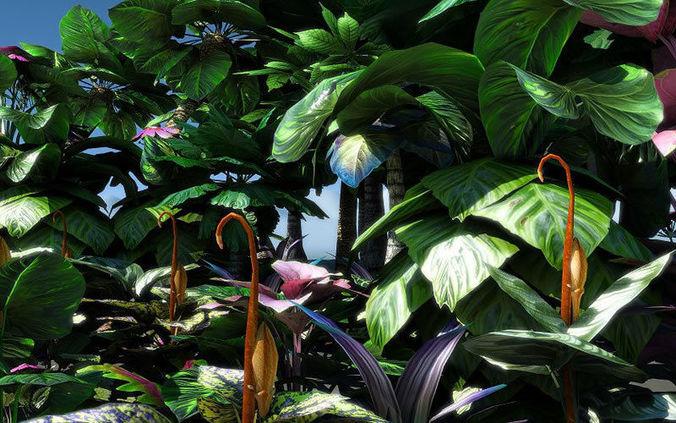 fantasy and alien vegetation 2 3d model low-poly obj mtl fbx lwo lw lws dae X pdf 1