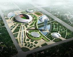 Modern Designed Grand Stadium Exterior 3D