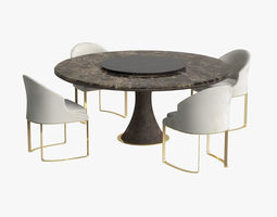 contemporary Longhi David table and Daphne chair 3D model