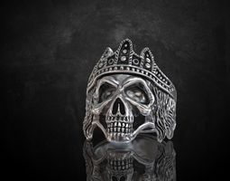 Ring skull with crown many sizes with 6-13 3D print model