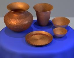 Copper Household set 3D asset
