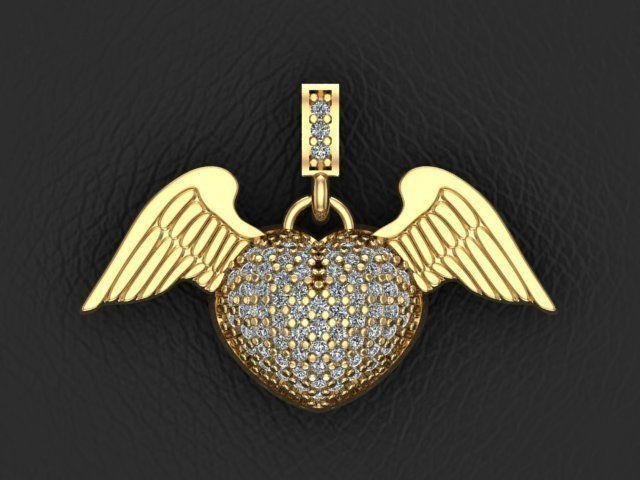 3d printable model angel heart pendant cgtrader angel heart pendant 3d model stl 1 mozeypictures Choice Image