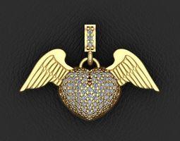 3D printable model angel heart pendant