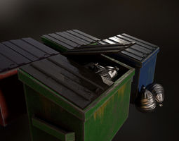 3D model city trash cans and trash bags