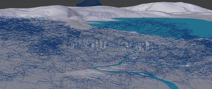 aerial cityscape 3d model blend 2