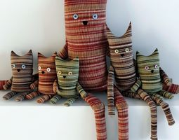 Textile toys cats hanging 3D