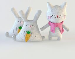 3D model Toys cat and rabbit textile