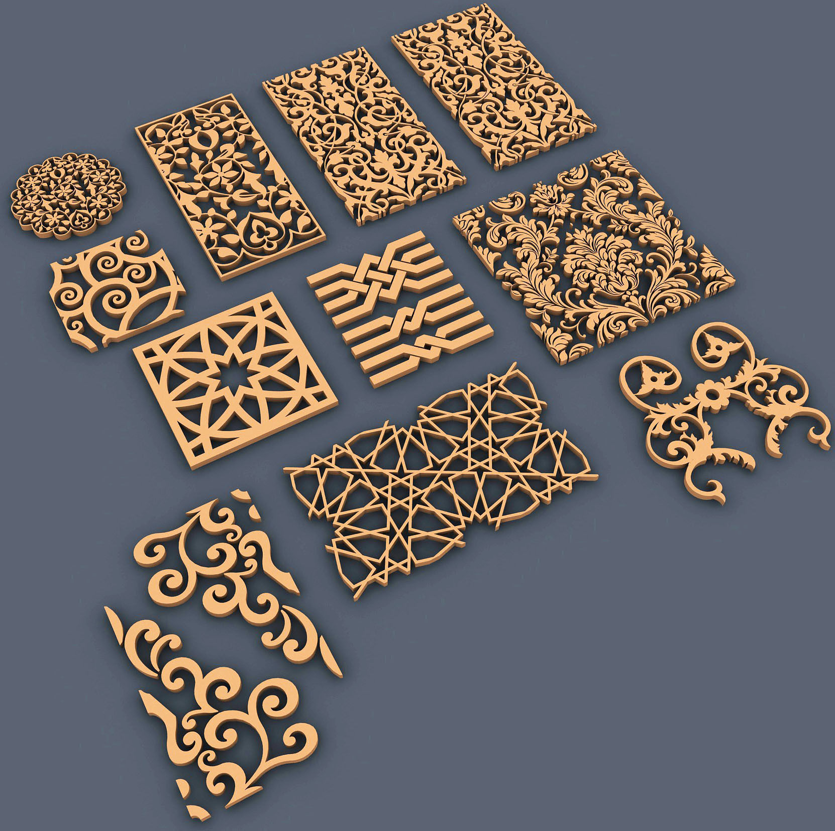 Ornaments 3d model max dwg for 3d model decoration