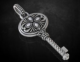Stylish vintage key pendant 209 3D print model