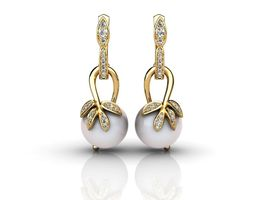 3D print model Gold earrings with diamonds and pearls