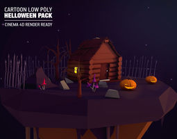 3D asset Cartoon Low Poly Halloween Pack