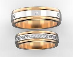 3D print model jewellery Combined wedding bands