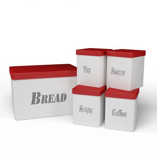 ... Kitchen Container Set   Bread Bin  Tea  Coffee  Sugar  Biscuit 3d Model  ...