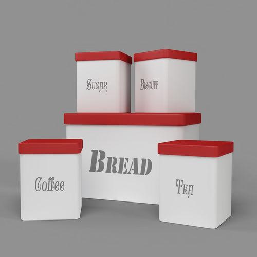 Kitchen Container Set   Bread Bin  Tea  Coffee  Sugar  Biscuit 3D Model