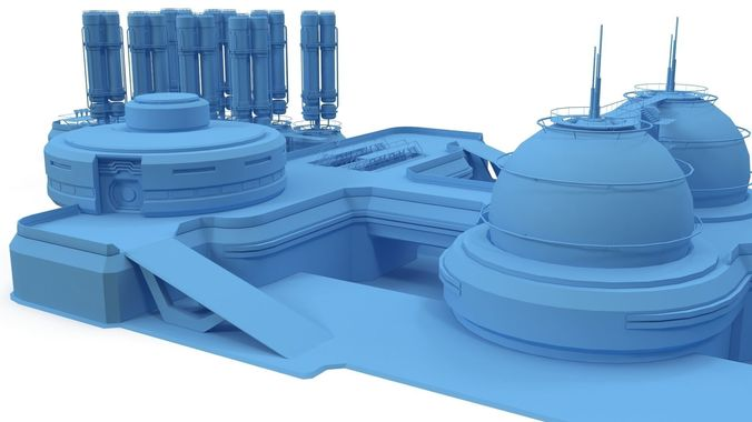 sci-fi gas storage base 3d model max obj 3ds fbx 1
