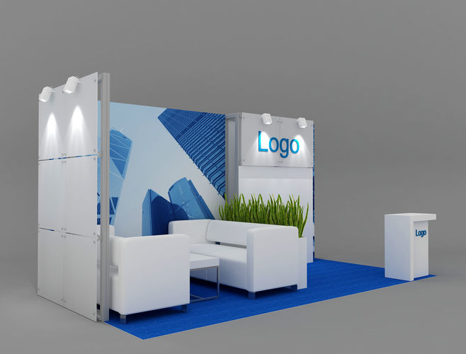 exhibition stand 6x3 m 3d model max obj mtl 3ds fbx mat 1