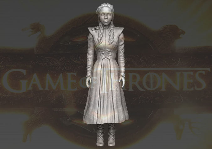 daenerys targaryen game of thrones 3d printing ready stl obj 3d model obj stl wrl wrz 1